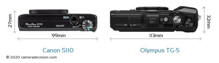 Canon S110 vs Olympus TG-5 Camera Size Comparison - Top View