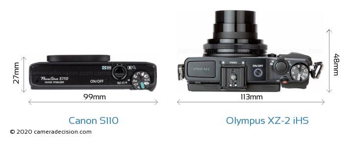 Canon S110 vs Olympus XZ-2 iHS Camera Size Comparison - Top View