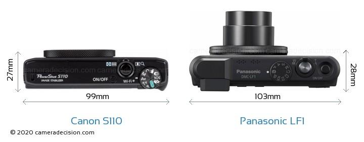 Canon S110 vs Panasonic LF1 Camera Size Comparison - Top View