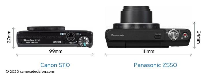 Canon S110 vs Panasonic ZS50 Camera Size Comparison - Top View