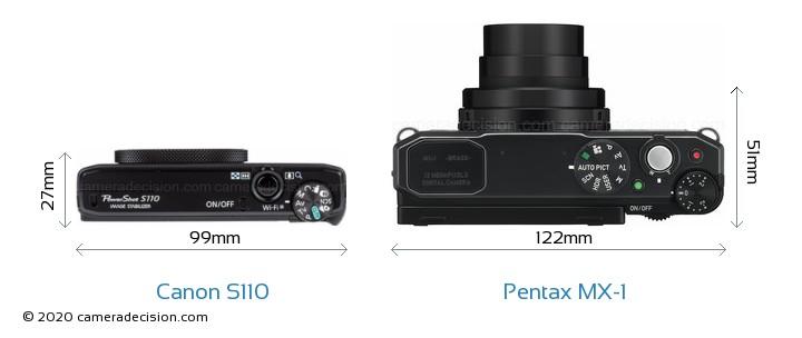 Canon S110 vs Pentax MX-1 Camera Size Comparison - Top View