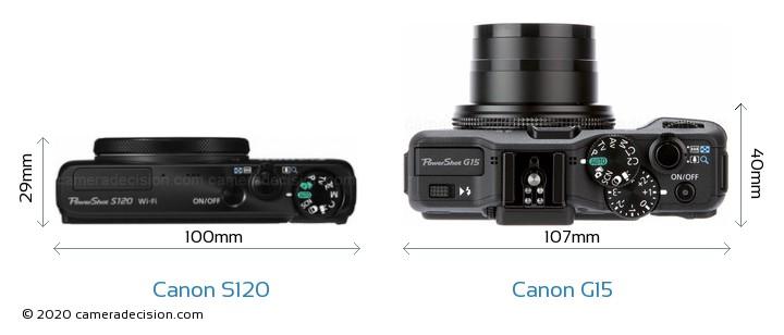 Canon S120 vs Canon G15 Camera Size Comparison - Top View
