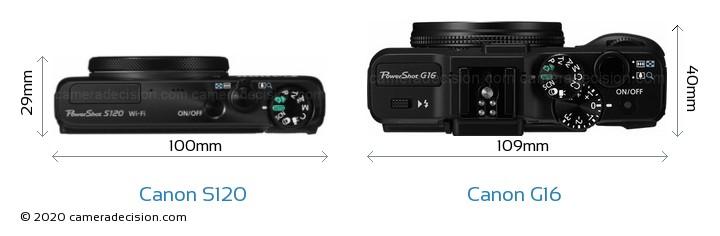 Canon S120 vs Canon G16 Camera Size Comparison - Top View