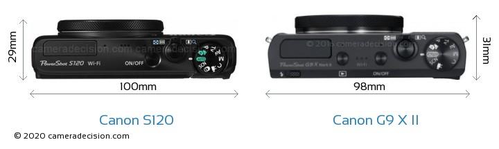 Canon S120 vs Canon G9 X II Camera Size Comparison - Top View