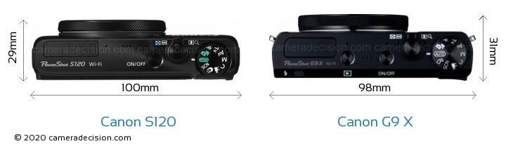 Canon S120 vs Canon G9 X Camera Size Comparison - Top View