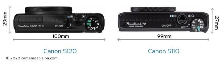 Canon S120 vs Canon S110 Camera Size Comparison - Top View