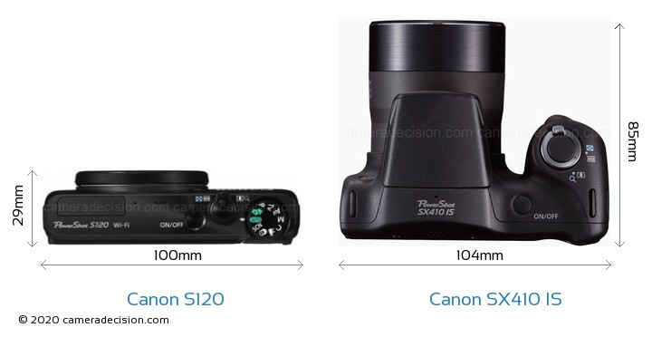 Canon S120 vs Canon SX410 IS Camera Size Comparison - Top View