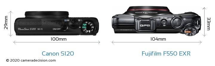 Canon S120 vs Fujifilm F550 EXR Camera Size Comparison - Top View