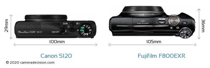 Canon S120 vs Fujifilm F800EXR Camera Size Comparison - Top View