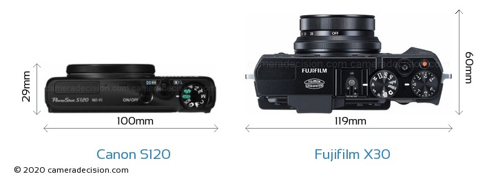 Canon S120 vs Fujifilm X30 Camera Size Comparison - Top View