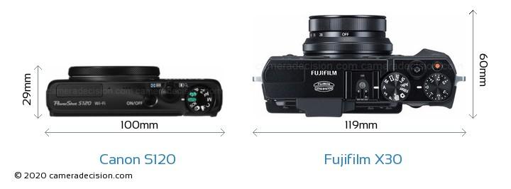 Canon S120 vs Fujifilm X30 Camera Size Comparison - Top View