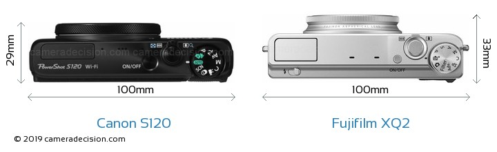 Canon S120 vs Fujifilm XQ2 Camera Size Comparison - Top View