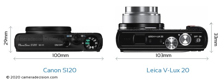 Canon S120 vs Leica V-Lux 20 Camera Size Comparison - Top View