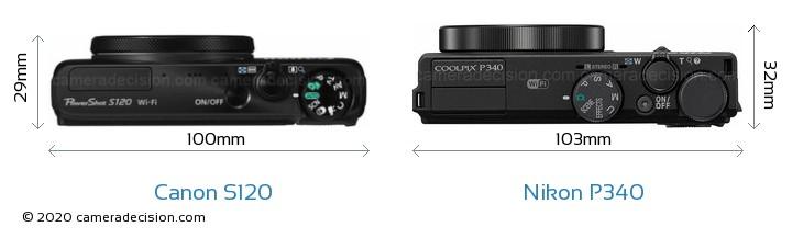 Canon S120 vs Nikon P340 Camera Size Comparison - Top View