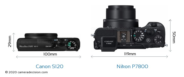 Canon S120 vs Nikon P7800 Camera Size Comparison - Top View