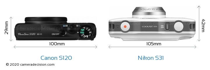Canon S120 vs Nikon S31 Camera Size Comparison - Top View
