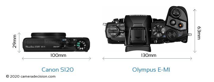 Canon S120 vs Olympus E-M1 Camera Size Comparison - Top View