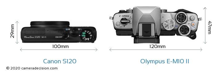 Canon S120 vs Olympus E-M10 II Camera Size Comparison - Top View