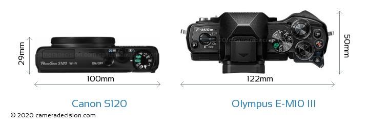 Canon S120 vs Olympus E-M10 MIII Camera Size Comparison - Top View