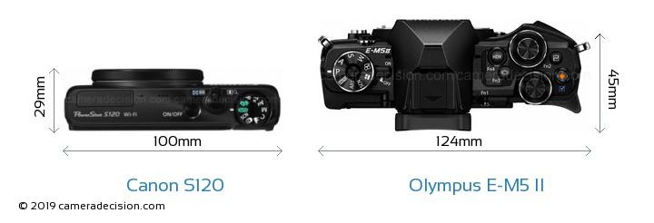 Canon S120 vs Olympus E-M5 II Camera Size Comparison - Top View