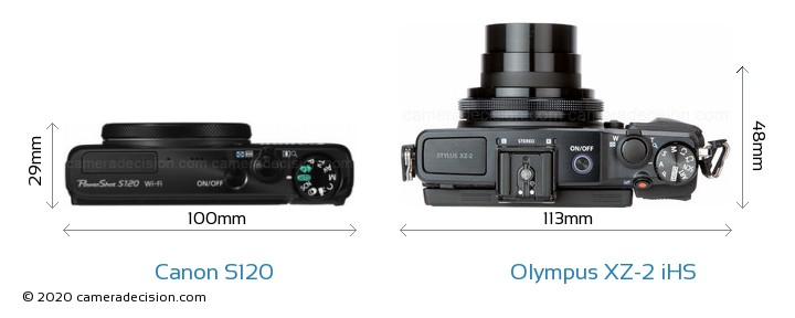 Canon S120 vs Olympus XZ-2 iHS Camera Size Comparison - Top View