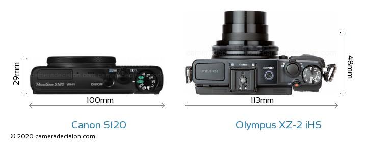 Canon S120 vs Olympus XZ-2 iHS Camera Size Comparison - Top View