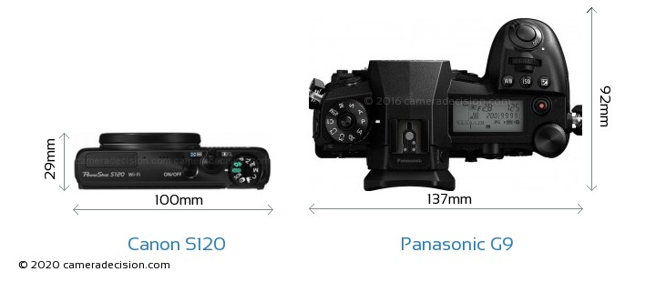 Canon S120 vs Panasonic G9 Camera Size Comparison - Top View