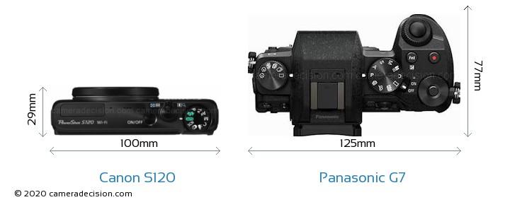 Canon S120 vs Panasonic G7 Camera Size Comparison - Top View