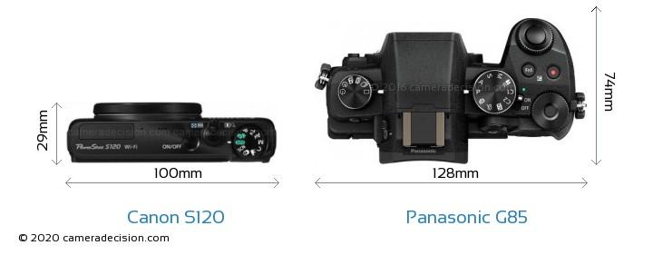 Canon S120 vs Panasonic G85 Camera Size Comparison - Top View