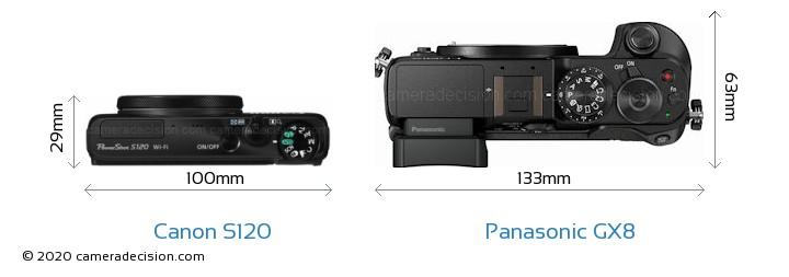 Canon S120 vs Panasonic GX8 Camera Size Comparison - Top View