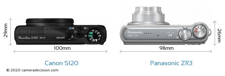 Canon S120 vs Panasonic ZR3 Camera Size Comparison - Top View