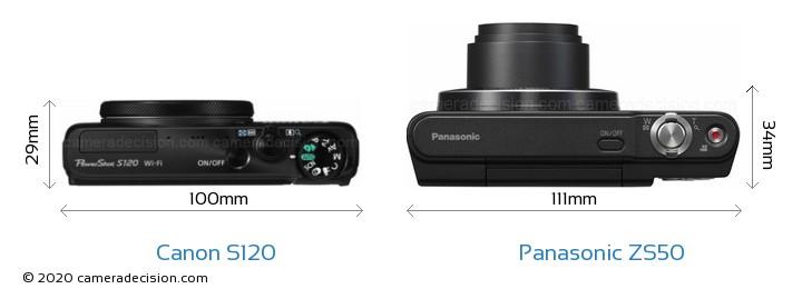 Canon S120 vs Panasonic ZS50 Camera Size Comparison - Top View