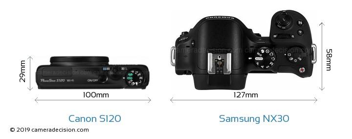 Canon S120 vs Samsung NX30 Camera Size Comparison - Top View