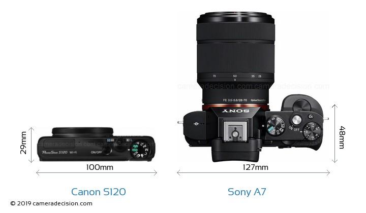 Canon S120 vs Sony A7 Camera Size Comparison - Top View