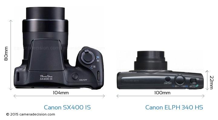 Canon SX400 IS vs Canon ELPH 340 HS Camera Size Comparison - Top View