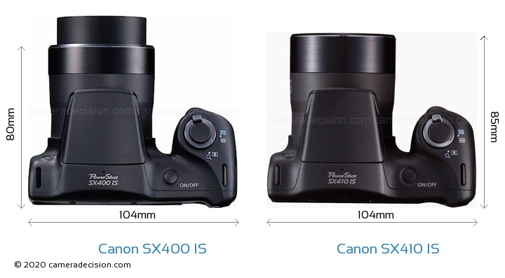 Canon SX400 IS vs Canon SX410 IS Camera Size Comparison - Top View