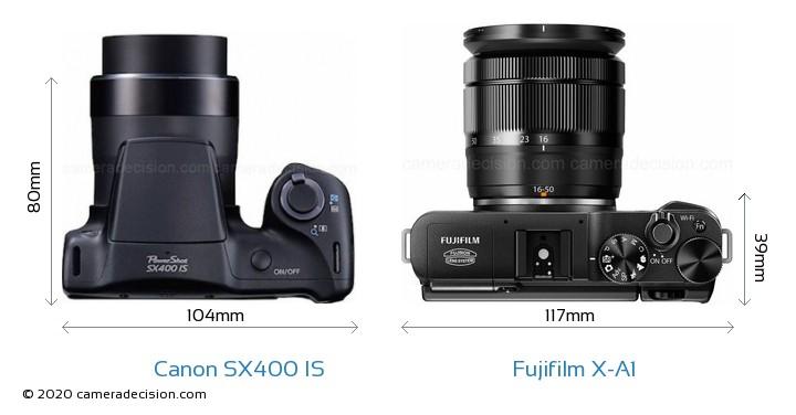 Canon SX400 IS vs Fujifilm X-A1 Camera Size Comparison - Top View