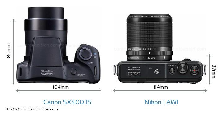 Canon SX400 IS vs Nikon 1 AW1 Camera Size Comparison - Top View