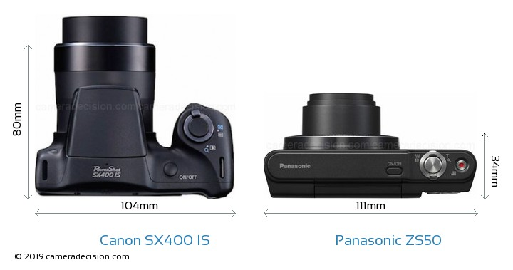Canon SX400 IS vs Panasonic ZS50 Camera Size Comparison - Top View