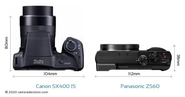 Canon SX400 IS vs Panasonic ZS60 Camera Size Comparison - Top View