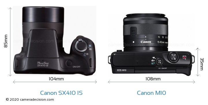 Canon SX410 IS vs Canon M10 Camera Size Comparison - Top View