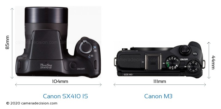 Canon SX410 IS vs Canon M3 Camera Size Comparison - Top View