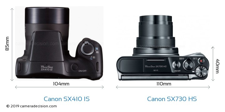 Canon SX410 IS vs Canon SX730 HS Camera Size Comparison - Top View