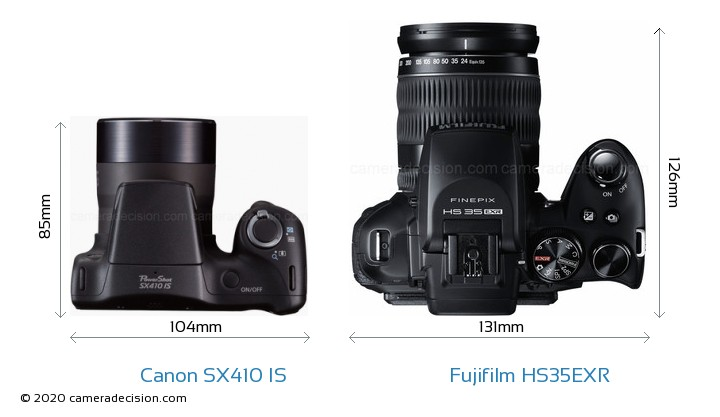 Canon SX410 IS vs Fujifilm HS35EXR Camera Size Comparison - Top View