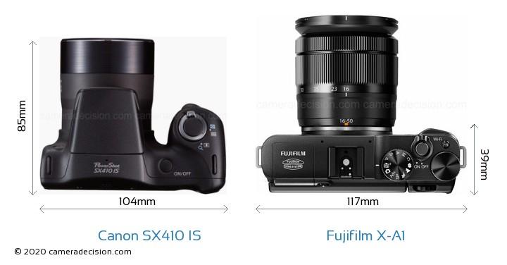 Canon SX410 IS vs Fujifilm X-A1 Camera Size Comparison - Top View