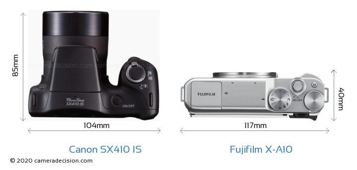Canon SX410 IS vs Fujifilm X-A10 Camera Size Comparison - Top View