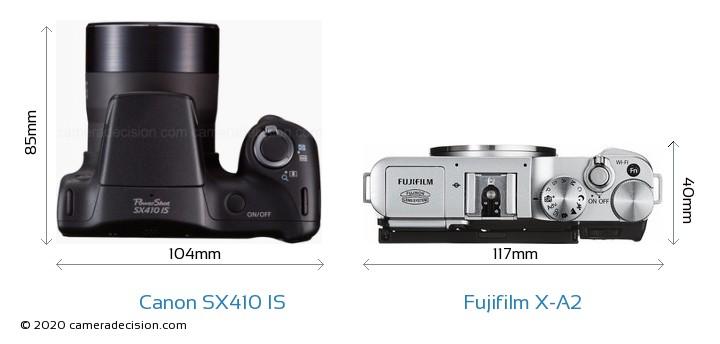 Canon SX410 IS vs Fujifilm X-A2 Camera Size Comparison - Top View