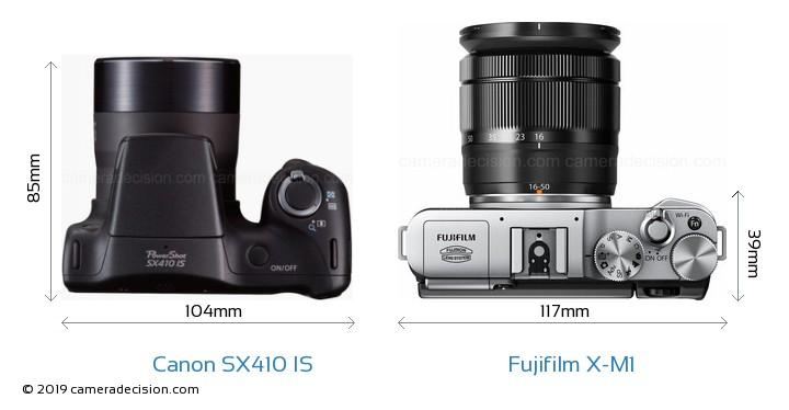 Canon SX410 IS vs Fujifilm X-M1 Camera Size Comparison - Top View