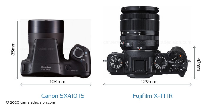 Canon SX410 IS vs Fujifilm X-T1 IR Camera Size Comparison - Top View