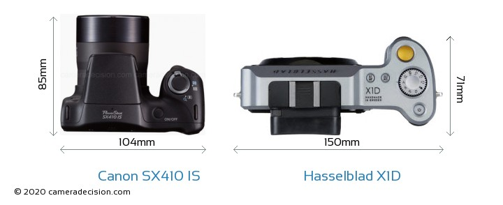 Canon SX410 IS vs Hasselblad X1D Camera Size Comparison - Top View